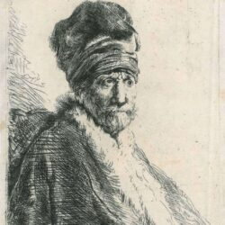 New Hollstein 57, copy b, Rembrandt, etching, Bartsch b. 321, Bust of a man wearing a high cap, three-quarters right [The artist's father?]