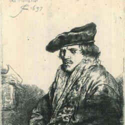 Rembrandt Etching, Bartsch B. 268, Young man in a velvet cap [probably Petrus Sylvius, preacher (1610-1653)]