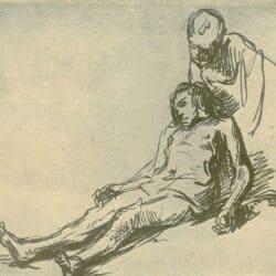 Rembrandt drawing or Govert Flinck, De barmhartige Samaritaan
