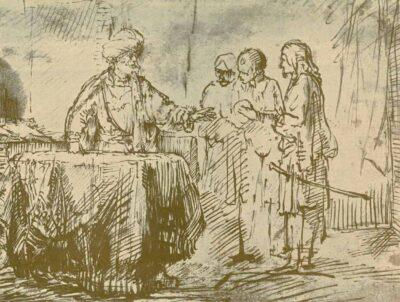 Rembrandt drawing, willem drost, The Roman Centurion Cornelius Sending his Men to Joppa