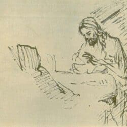 School of Rembrand drawing of Christ at a table with a woman