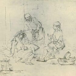 Rembrandt drawing, Joseph in Prison Interpreting the Dreams of Pharaoh's Butler and Baker (Genesis 40)
