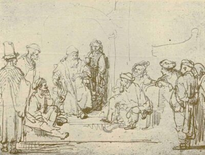 Rembrandt Drawing, Jacob and his Sons